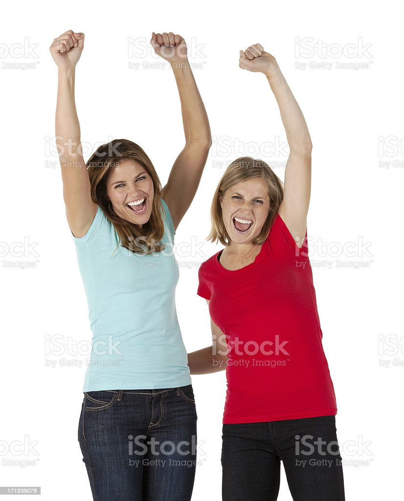 Two female friends cheering royalty-free stock photo