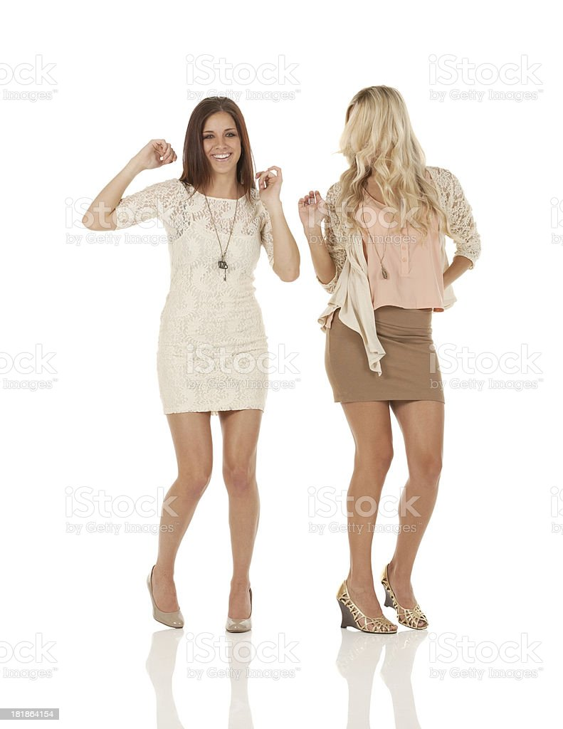 Two female friends dancing royalty-free stock photo