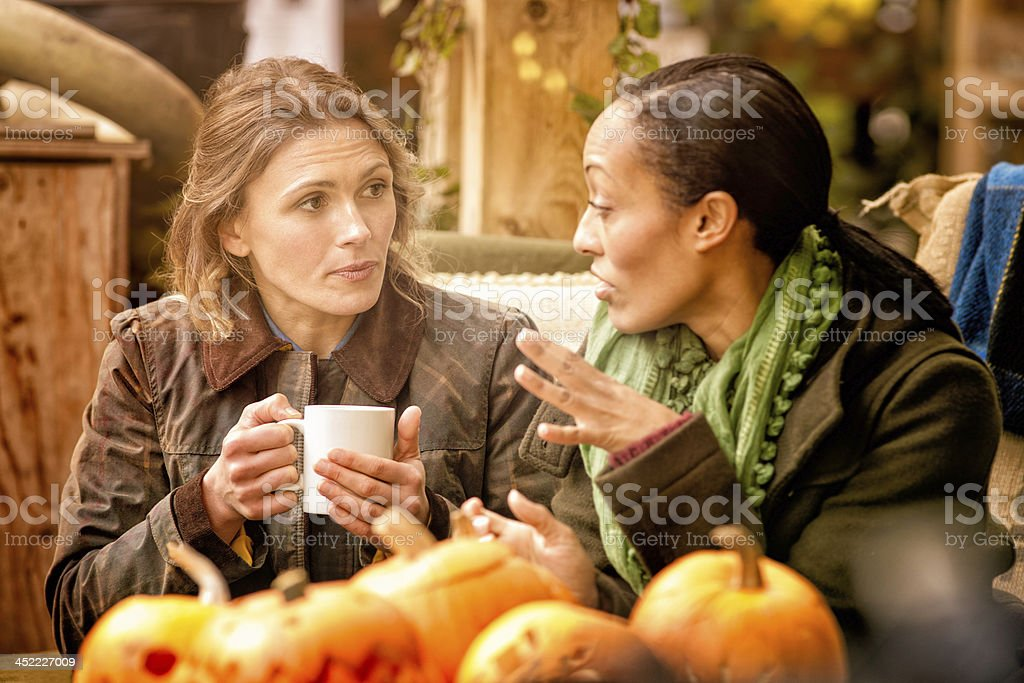 Two female friends discussing over a cup of coffee stock photo