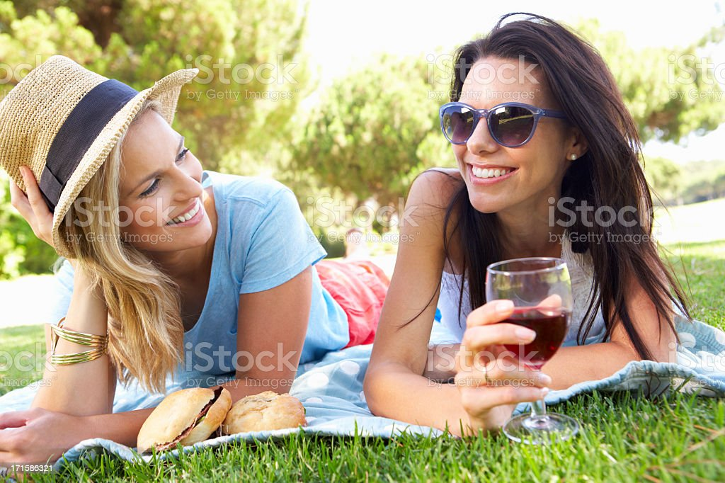 Two Female Friends Enjoying Picnic Together royalty-free stock photo