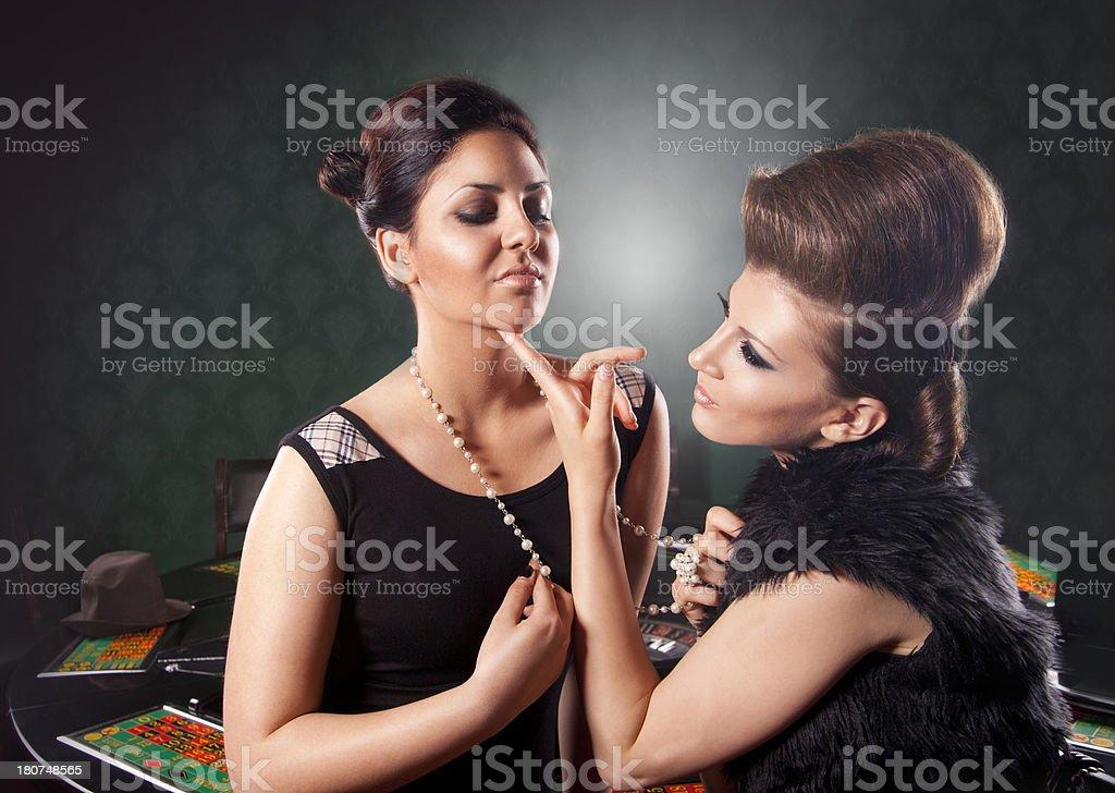 Two Female gambler royalty-free stock photo