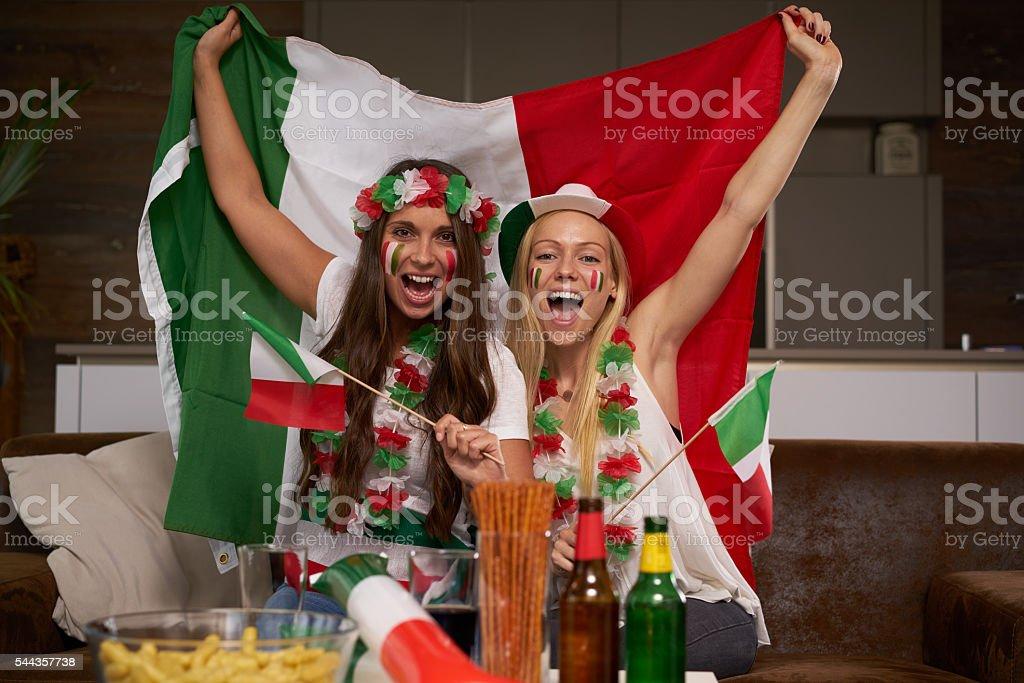 two female Italian soccer fans stock photo
