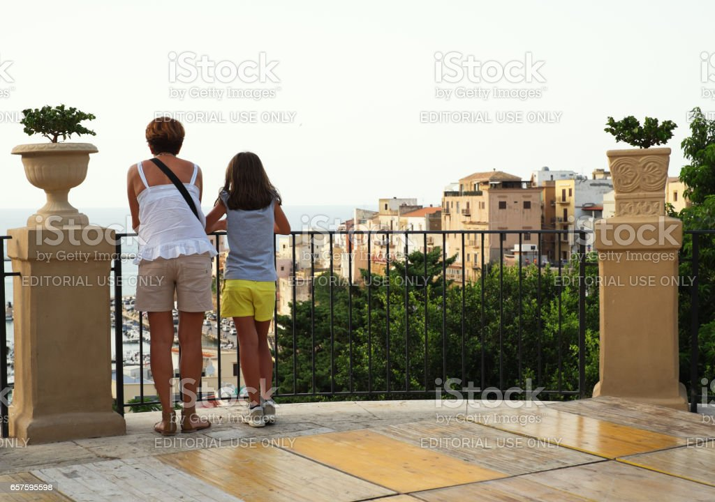 Two female tourists in Sicily stock photo