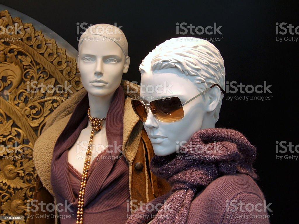 Two female 'white head' dummies royalty-free stock photo