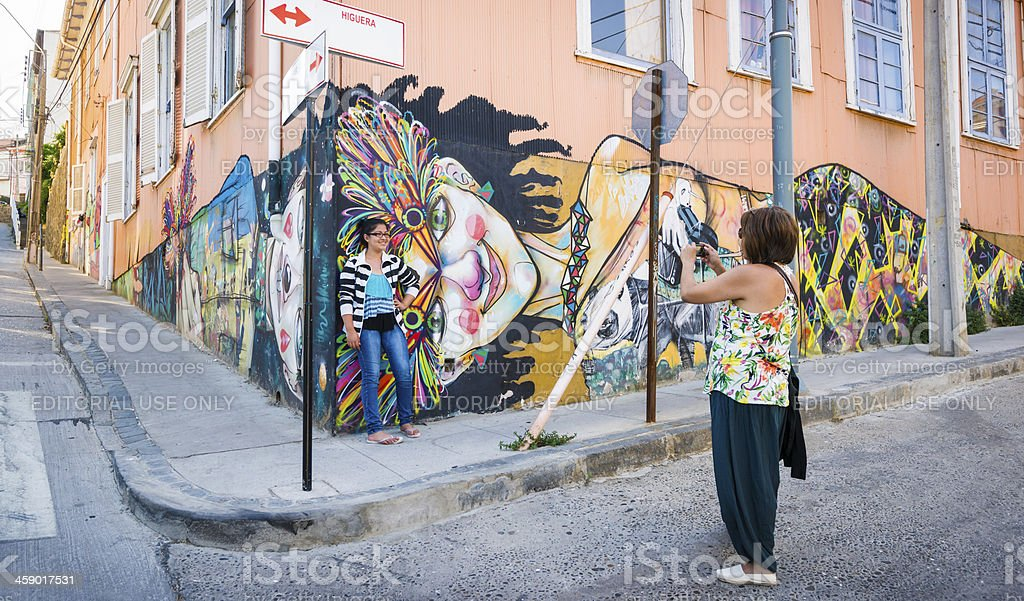 Two Females with Graffiti in Background royalty-free stock photo