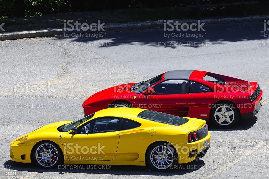 Two Ferrari sports cars, a 360 Modena and 348TS stock photo