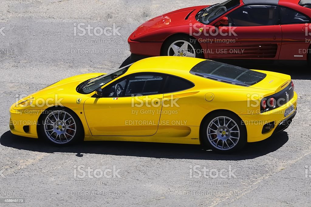 Two Ferrari's royalty-free stock photo