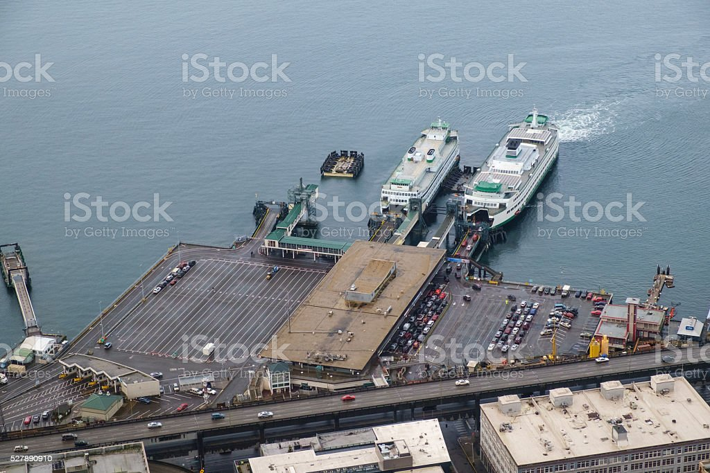 Two ferry boats at Coleman Dock stock photo
