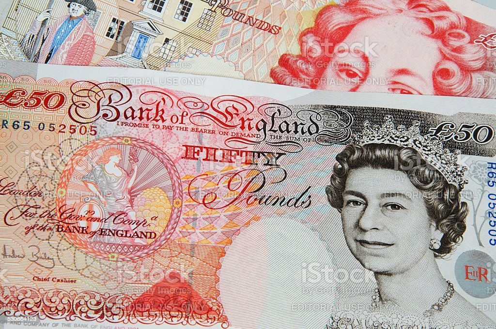 Two Fifty pound notes. stock photo