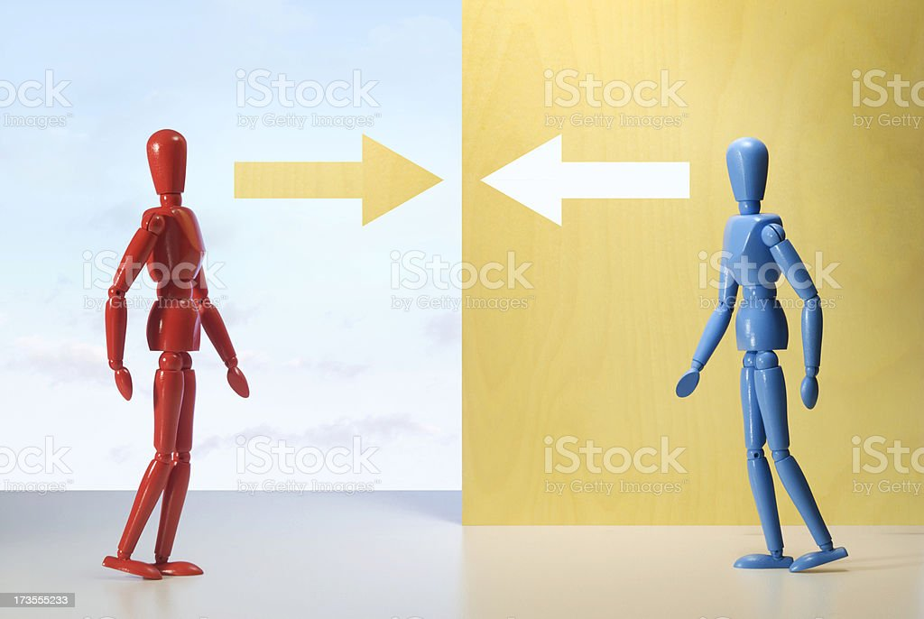 Two figures meet. royalty-free stock photo