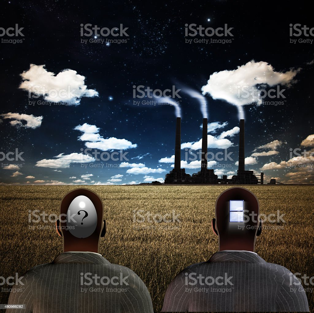 Two Figures Observe stock photo