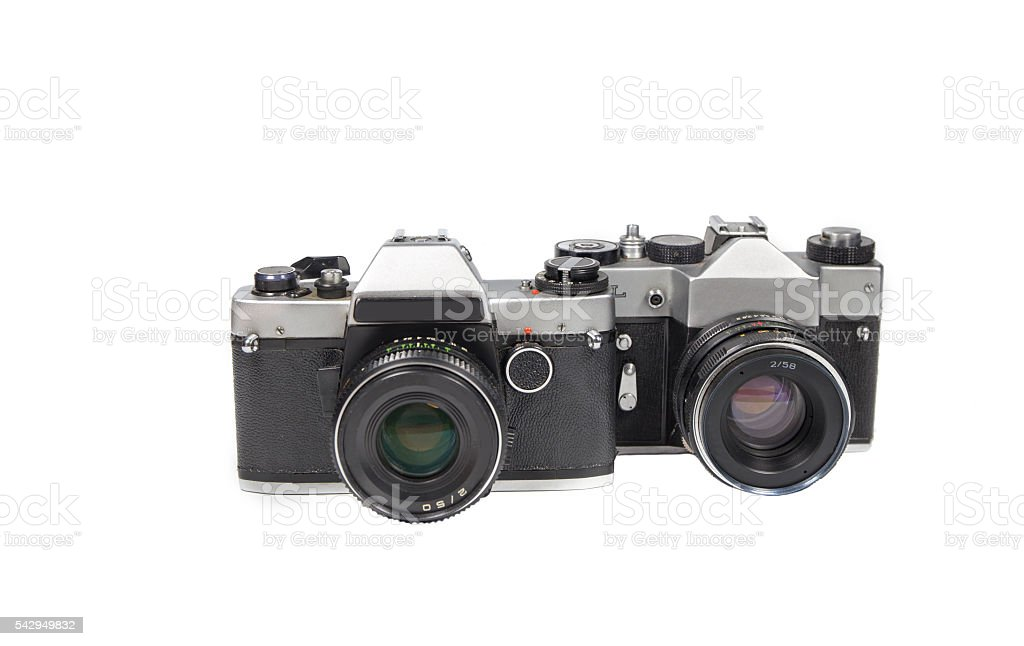 two film camera old. stock photo