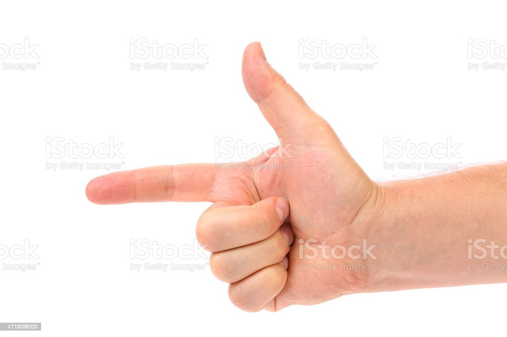 Two finger like a gun. Man's hand. royalty-free stock photo