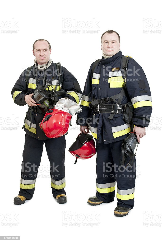 two firemen after action royalty-free stock photo