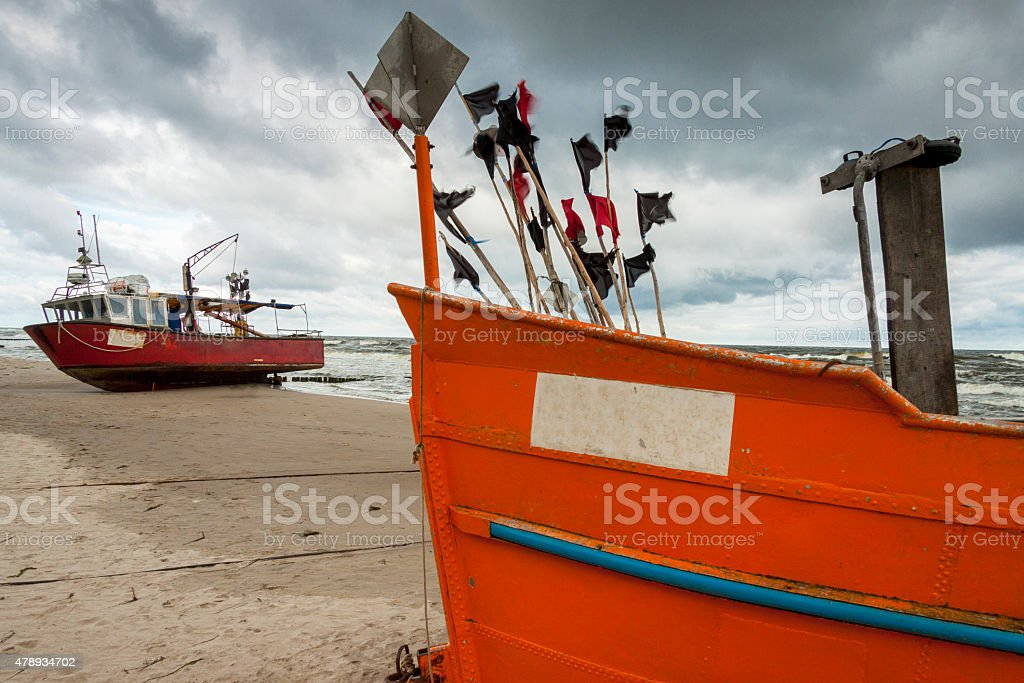Two fishing boat - Rewal, Poland. stock photo