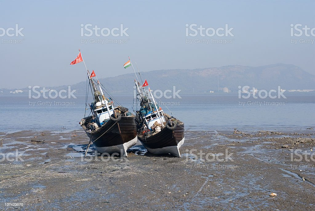 Two fishing boats royalty-free stock photo