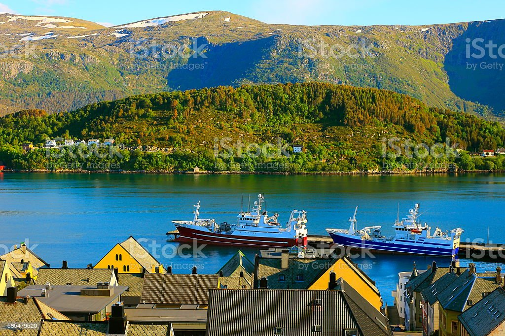 Two fishing ships, Alesund dock harbor, Norway, North Sea, Scandinavia stock photo