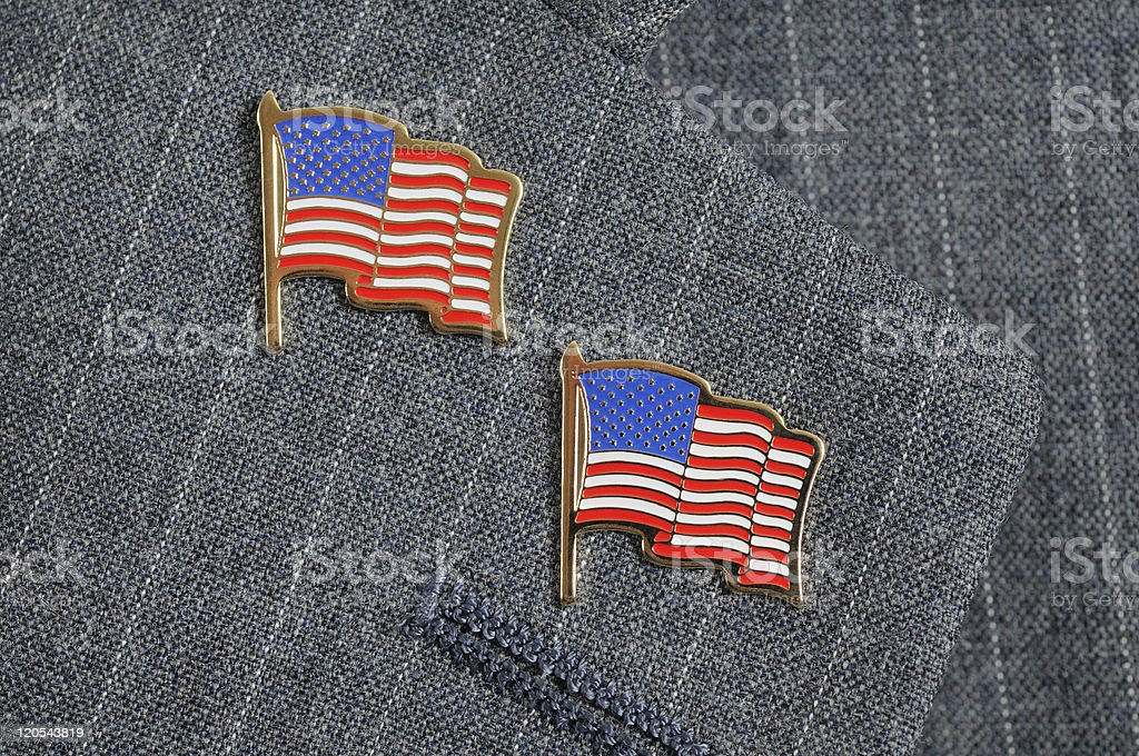 Two flag pins stock photo