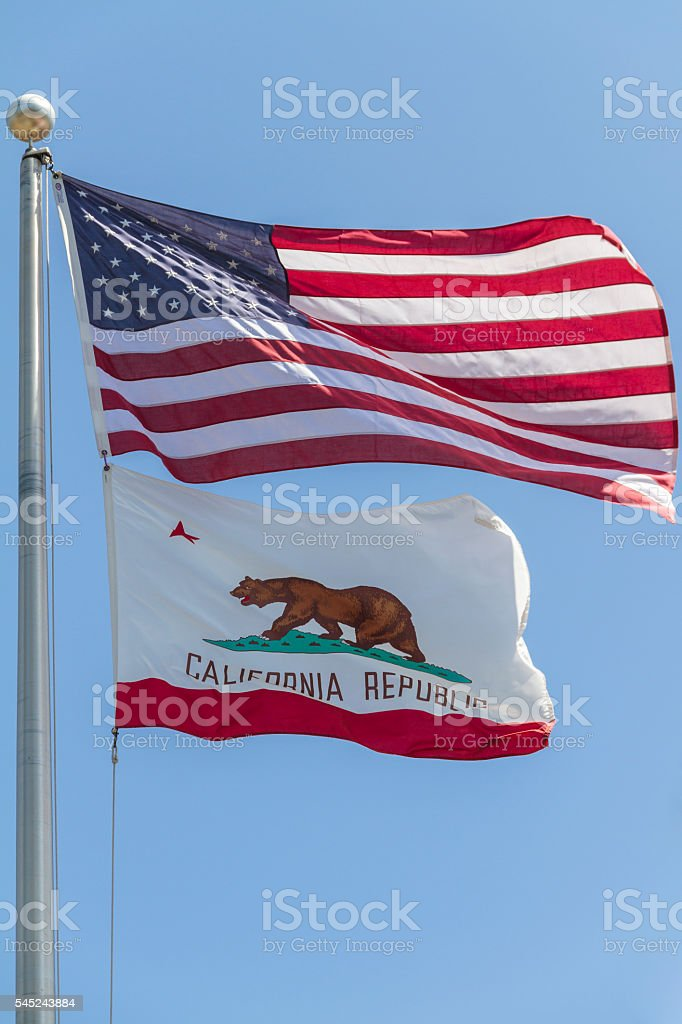 Two Flags -- California and United States stock photo