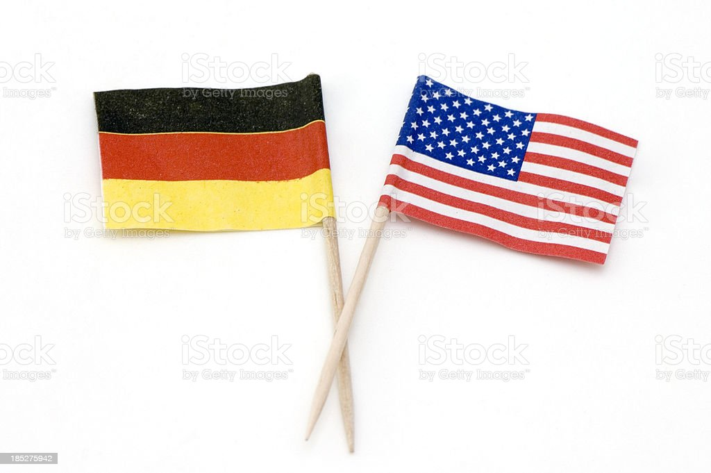 Two Flags of Germany and USA stock photo