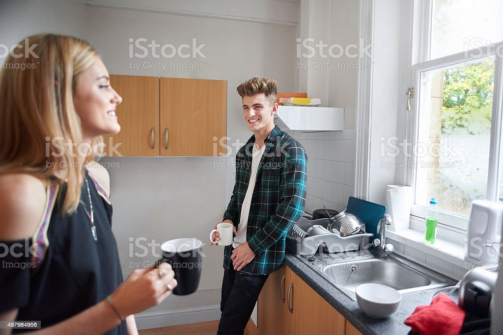 two flatmates having a cup of tea. stock photo