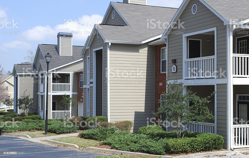 Two floor apartment complex stock photo