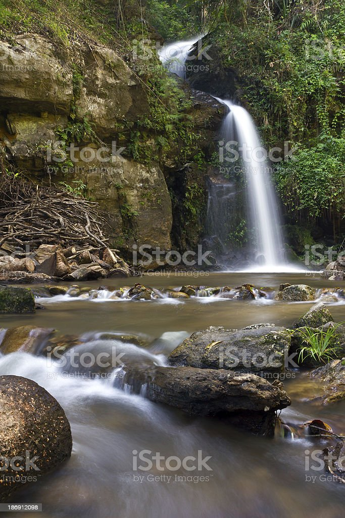 Two floor Waterfall in evening at north of Thailand royalty-free stock photo