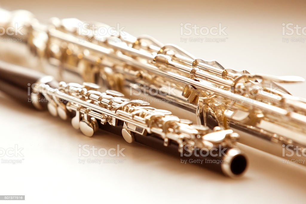 Two flute closeup stock photo