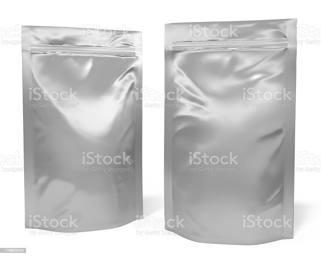 Two foil bag packages stock photo