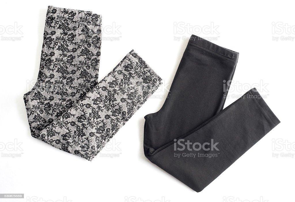 two folded yoga pants stock photo