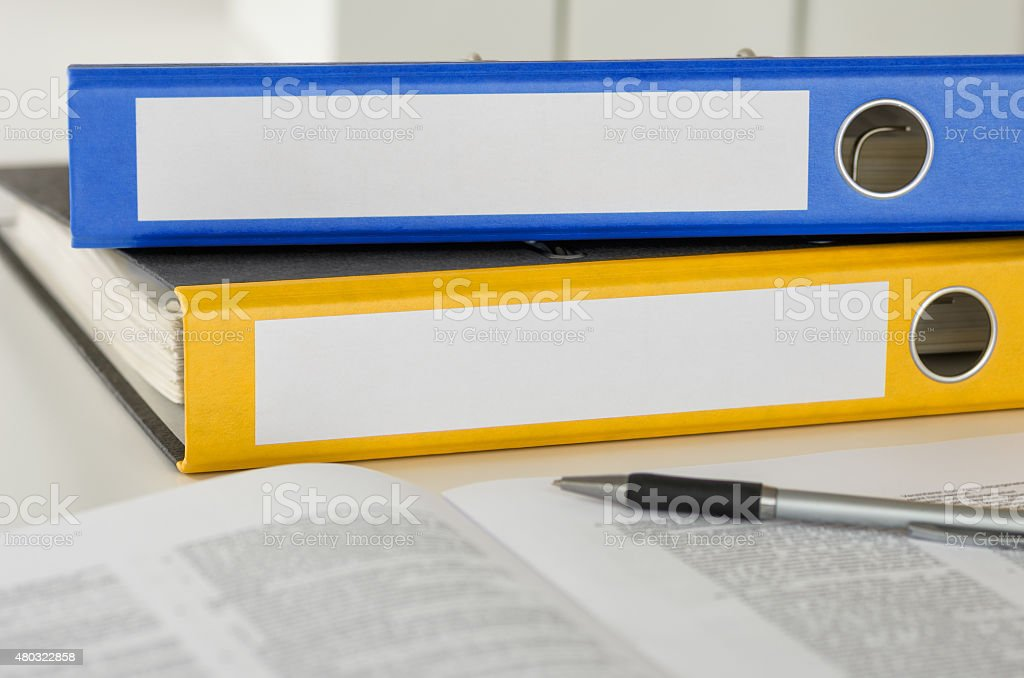 Two folders with empty labels stock photo
