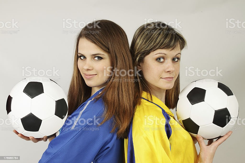 two football fans royalty-free stock photo