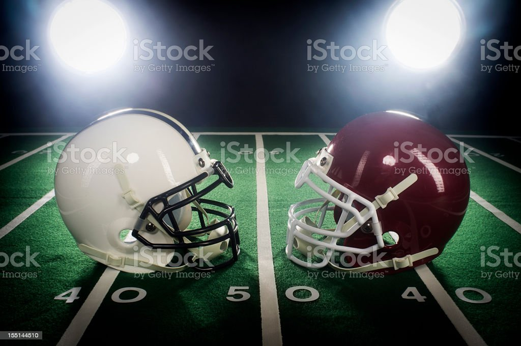 Two Football Helmets stock photo