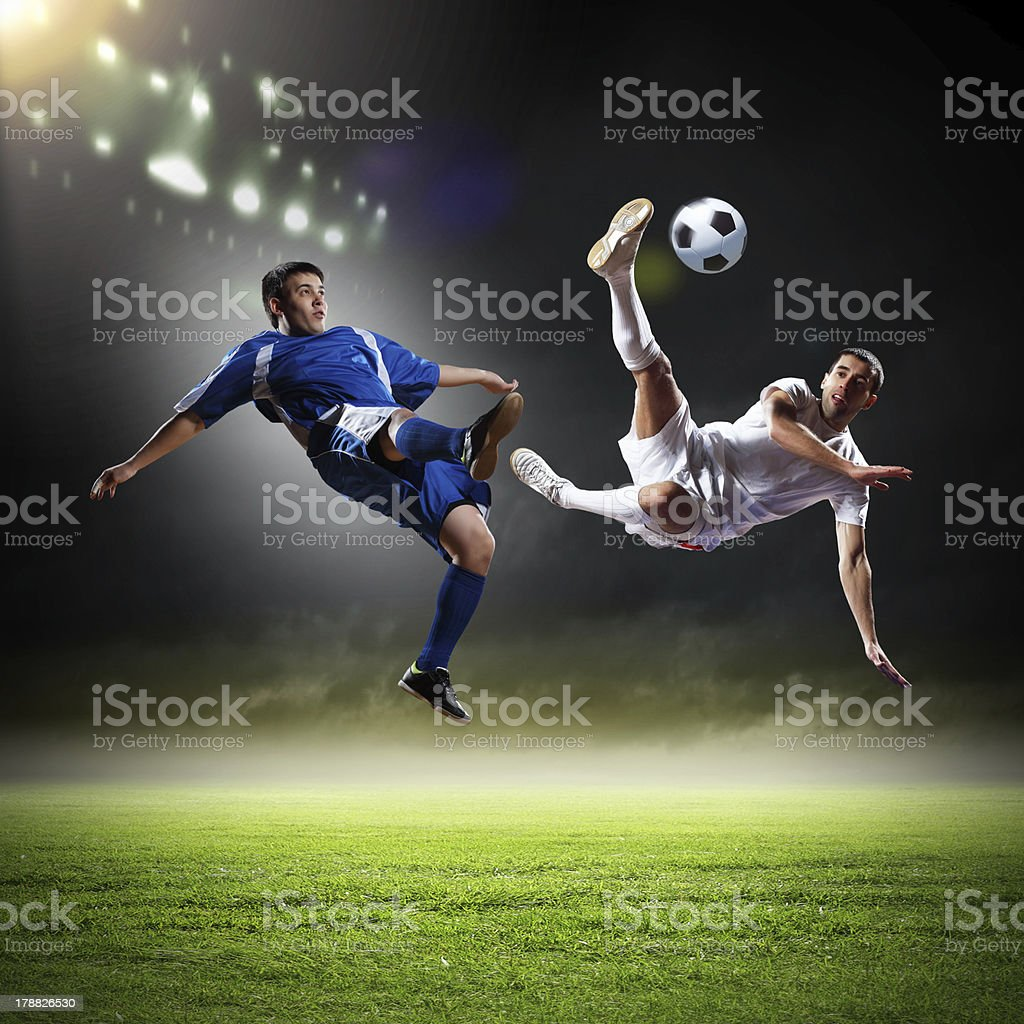 Two football player royalty-free stock photo