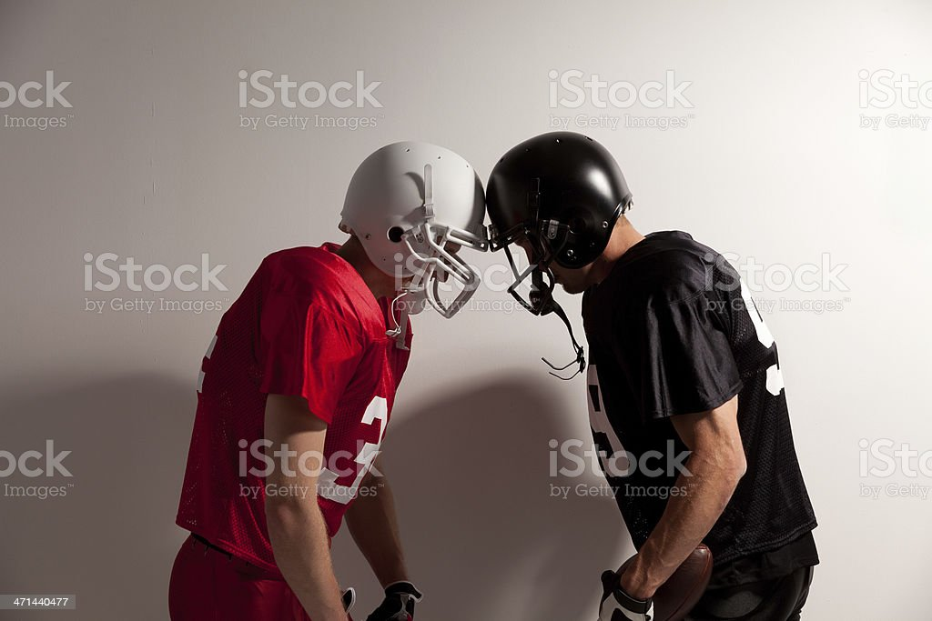 Two football players royalty-free stock photo