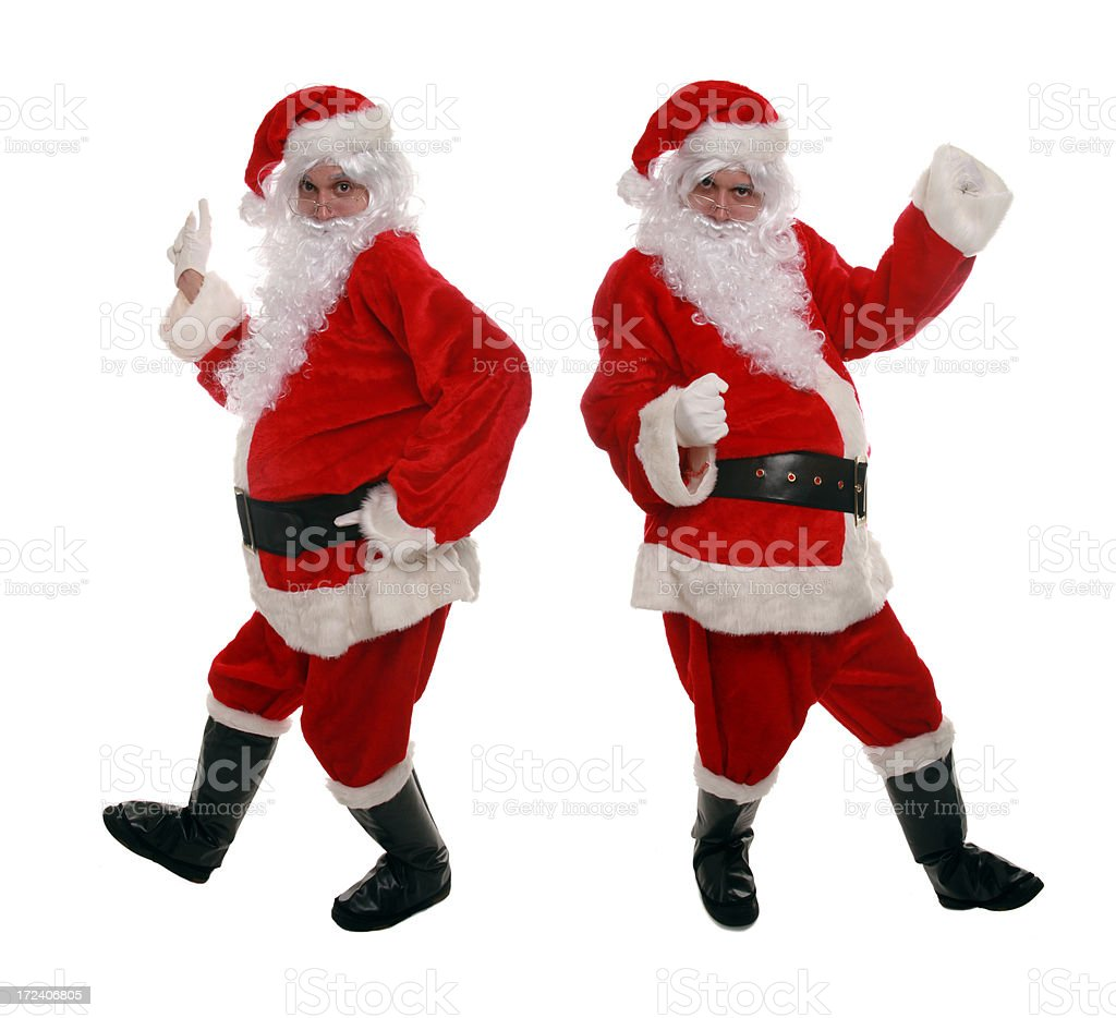 Two For One Dancing Santas royalty-free stock photo