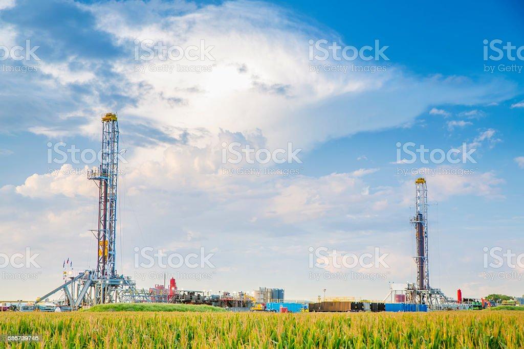 Two Fracking Platforms In Daytime. stock photo