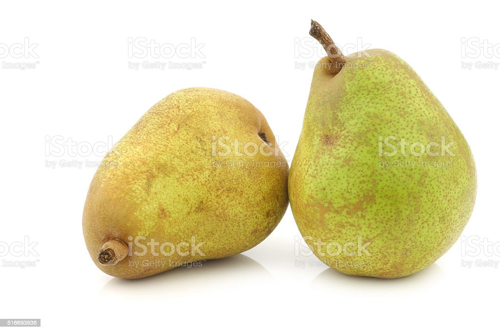 two fresh 'doyenne de comice' pears stock photo