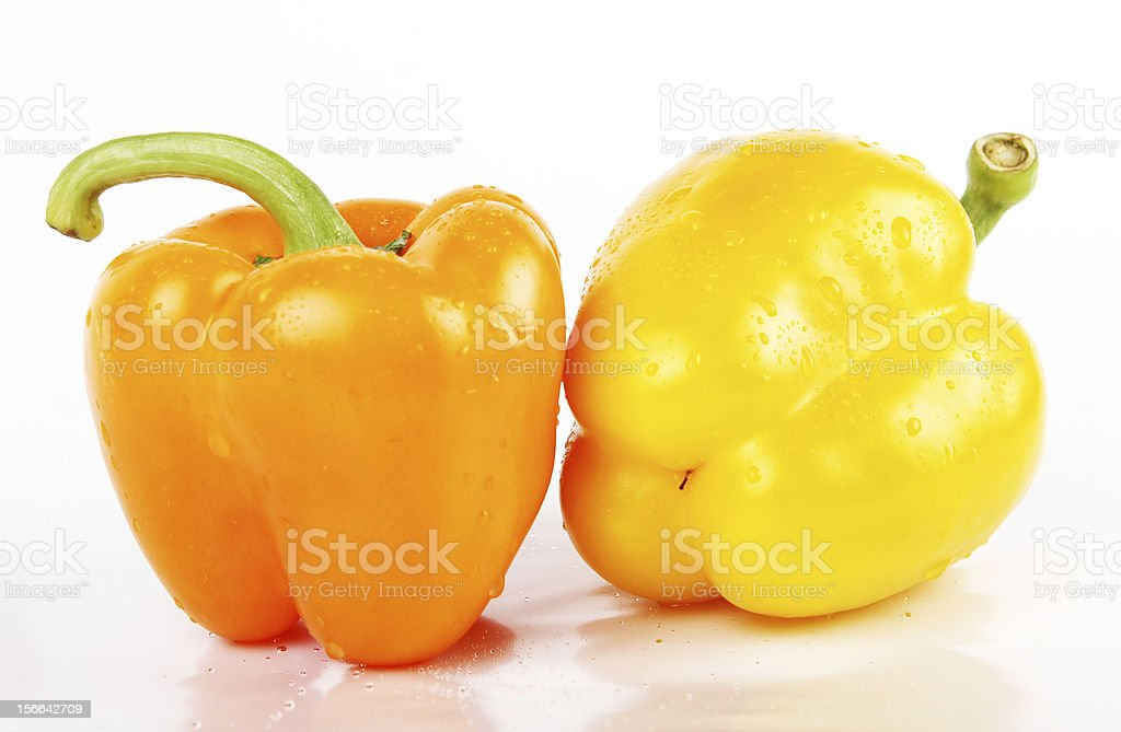 two fresh peppers closeup royalty-free stock photo