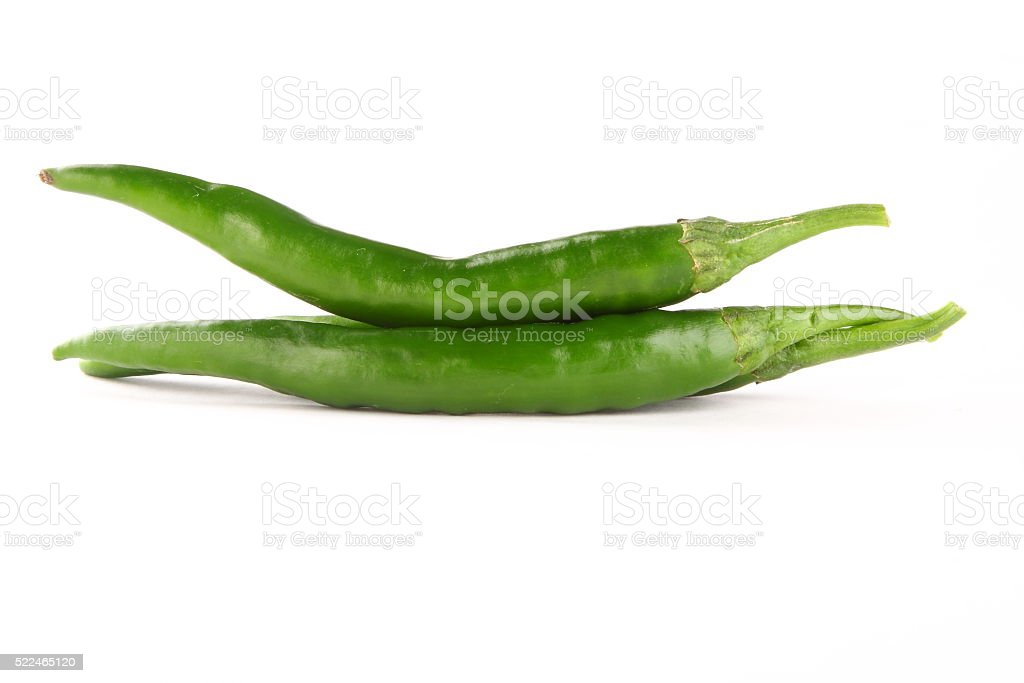 Two fresh peppers on white background, stock photo
