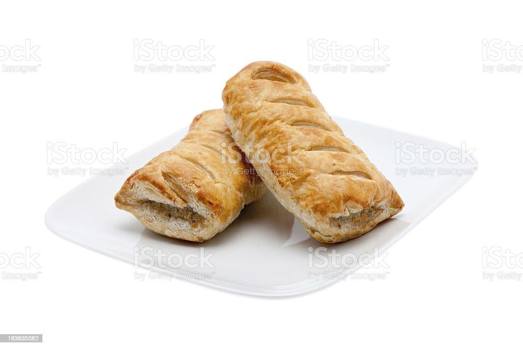 Two fresh sausage rolls stock photo