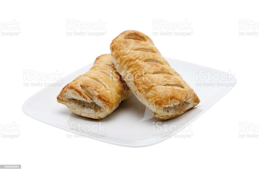 Two fresh sausage rolls stock photo