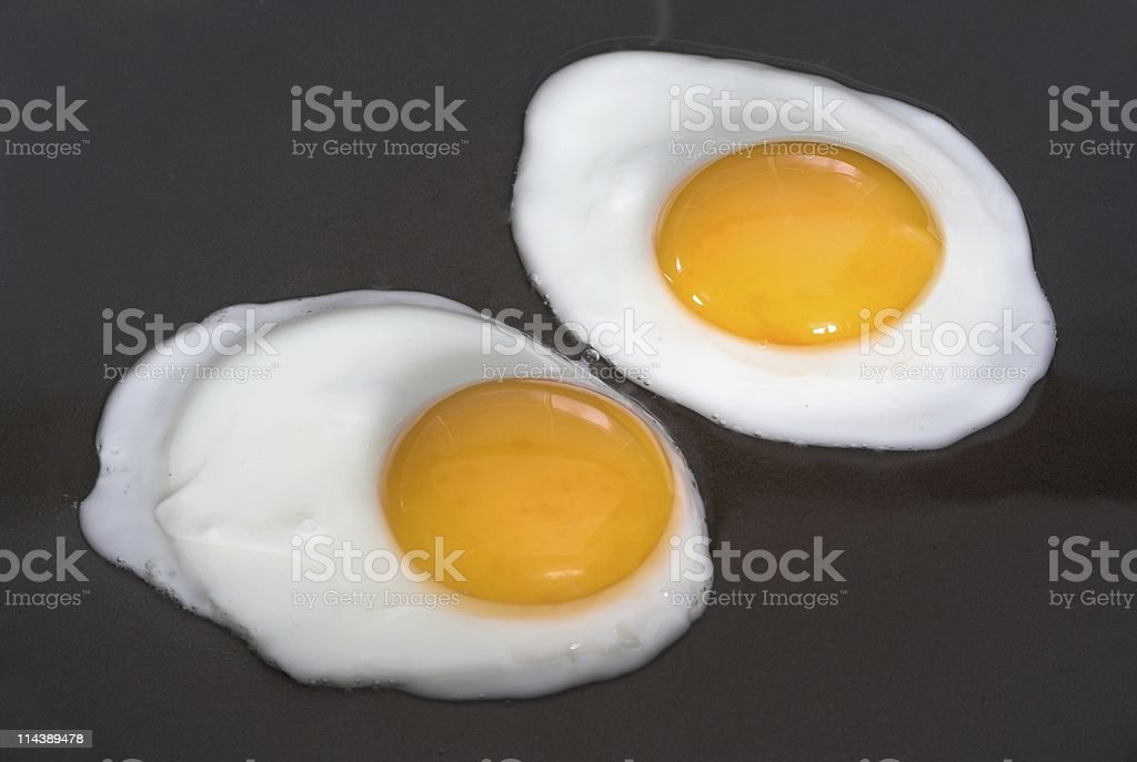 Two Fried Eggs Being Cooked royalty-free stock photo