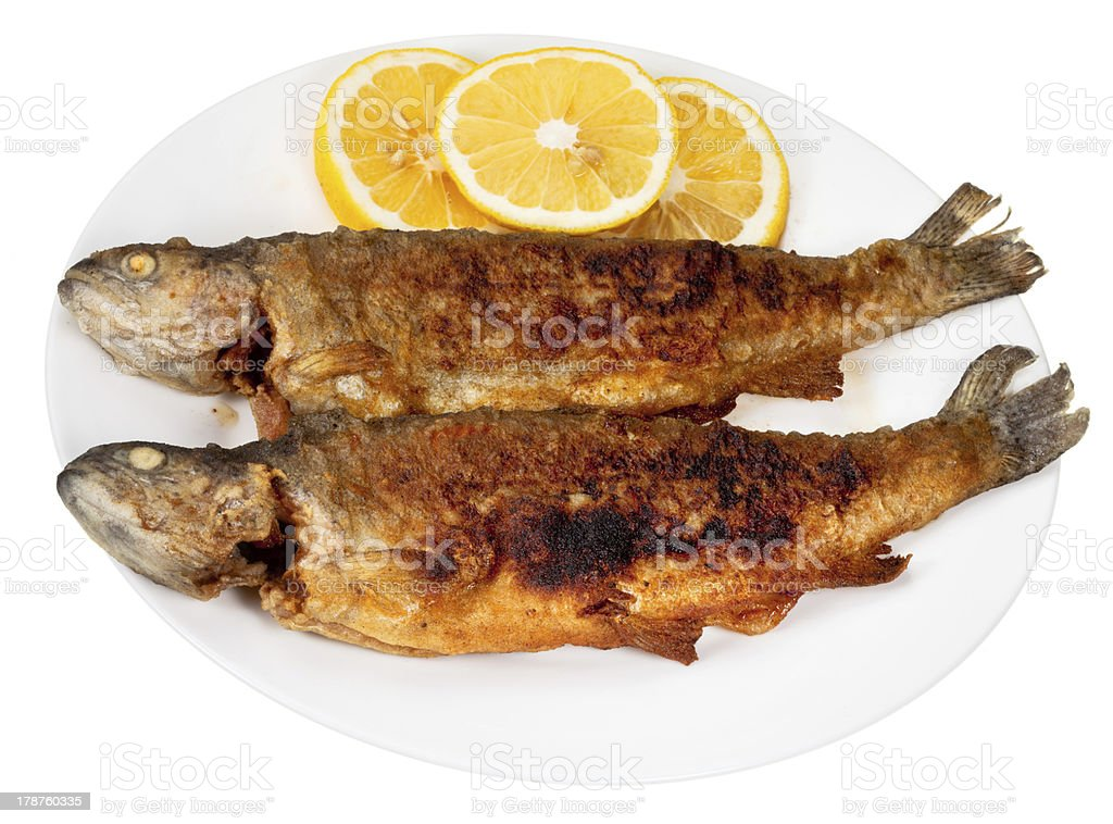 two fried river trout fishes on plate royalty-free stock photo