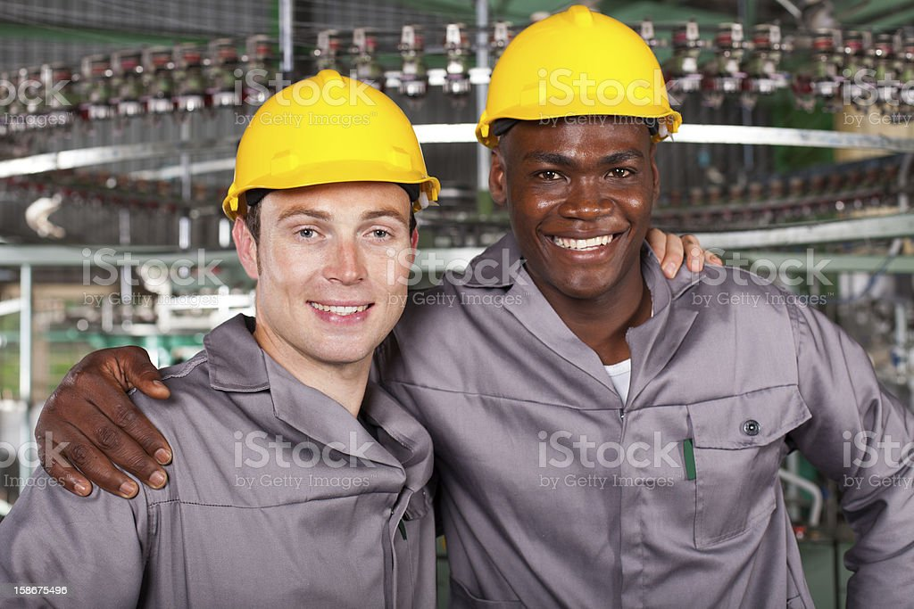 two friendly industrial workers colleagues royalty-free stock photo