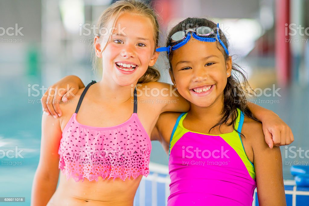 Two Friends Going for a Swim stock photo