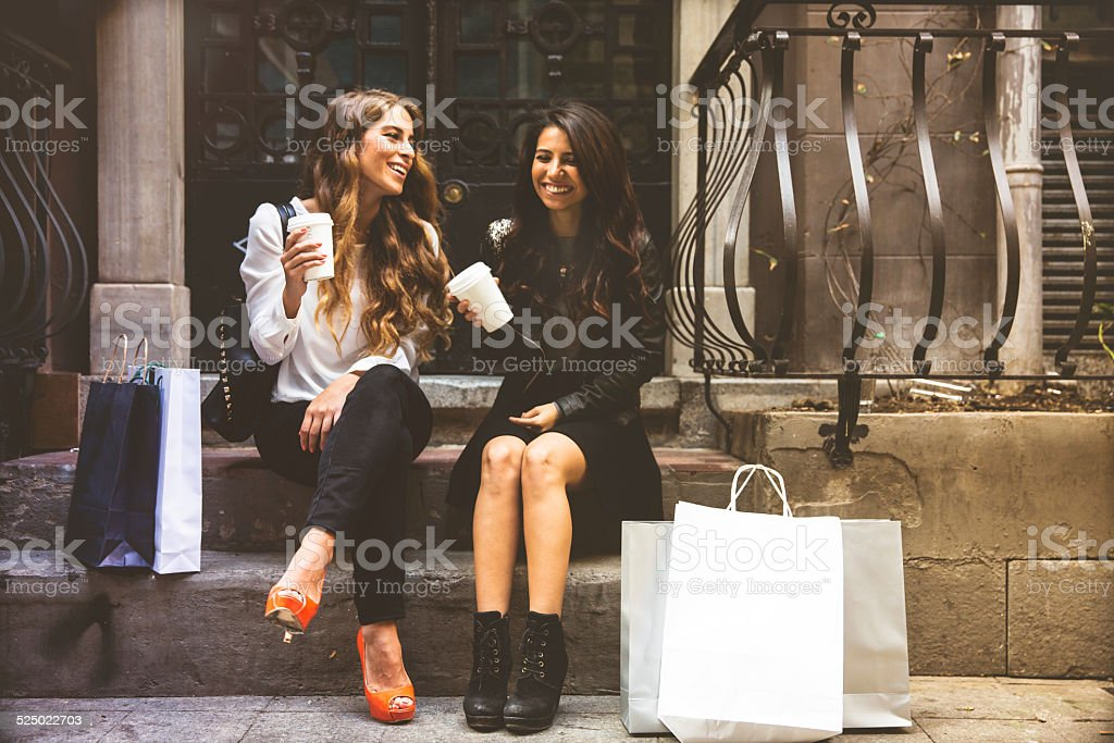 Two Friends Hanging Around And Shopping stock photo