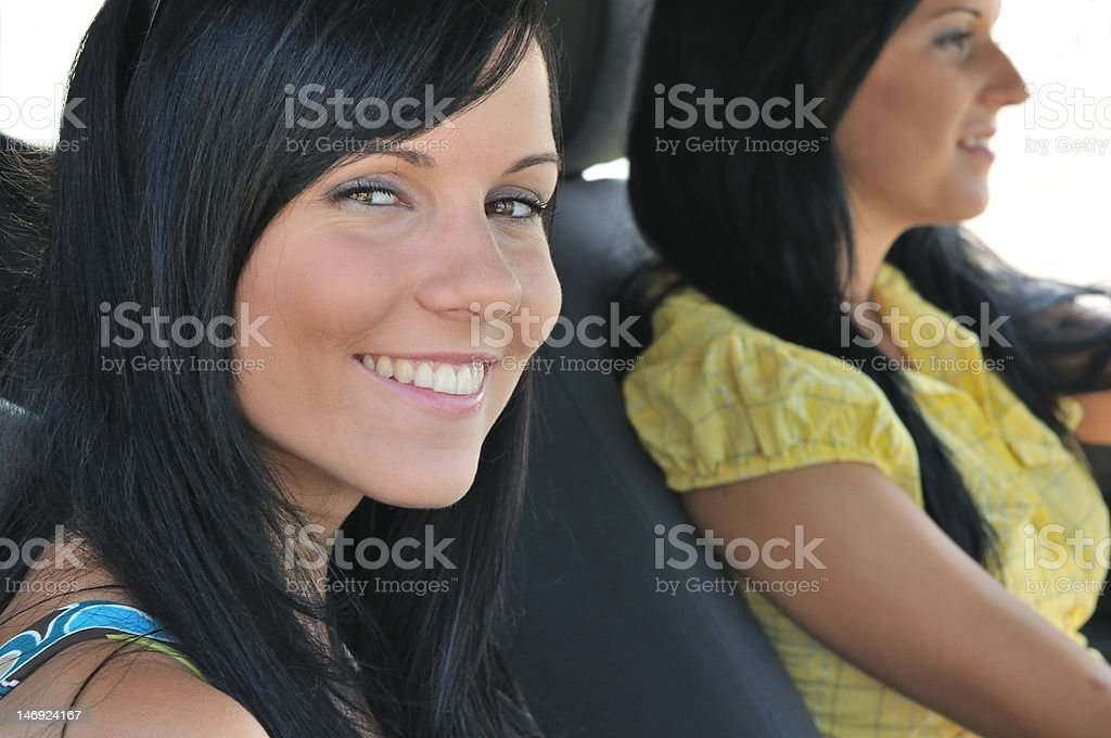 Two friends in car royalty-free stock photo