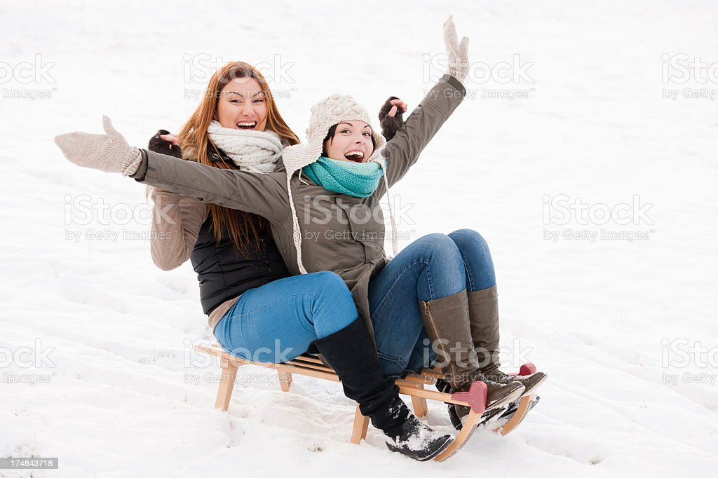 Two friends on slide royalty-free stock photo