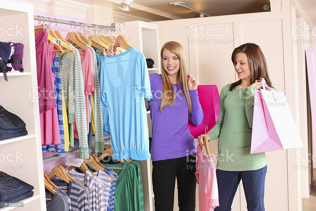 Two friends shopping together royalty-free stock photo